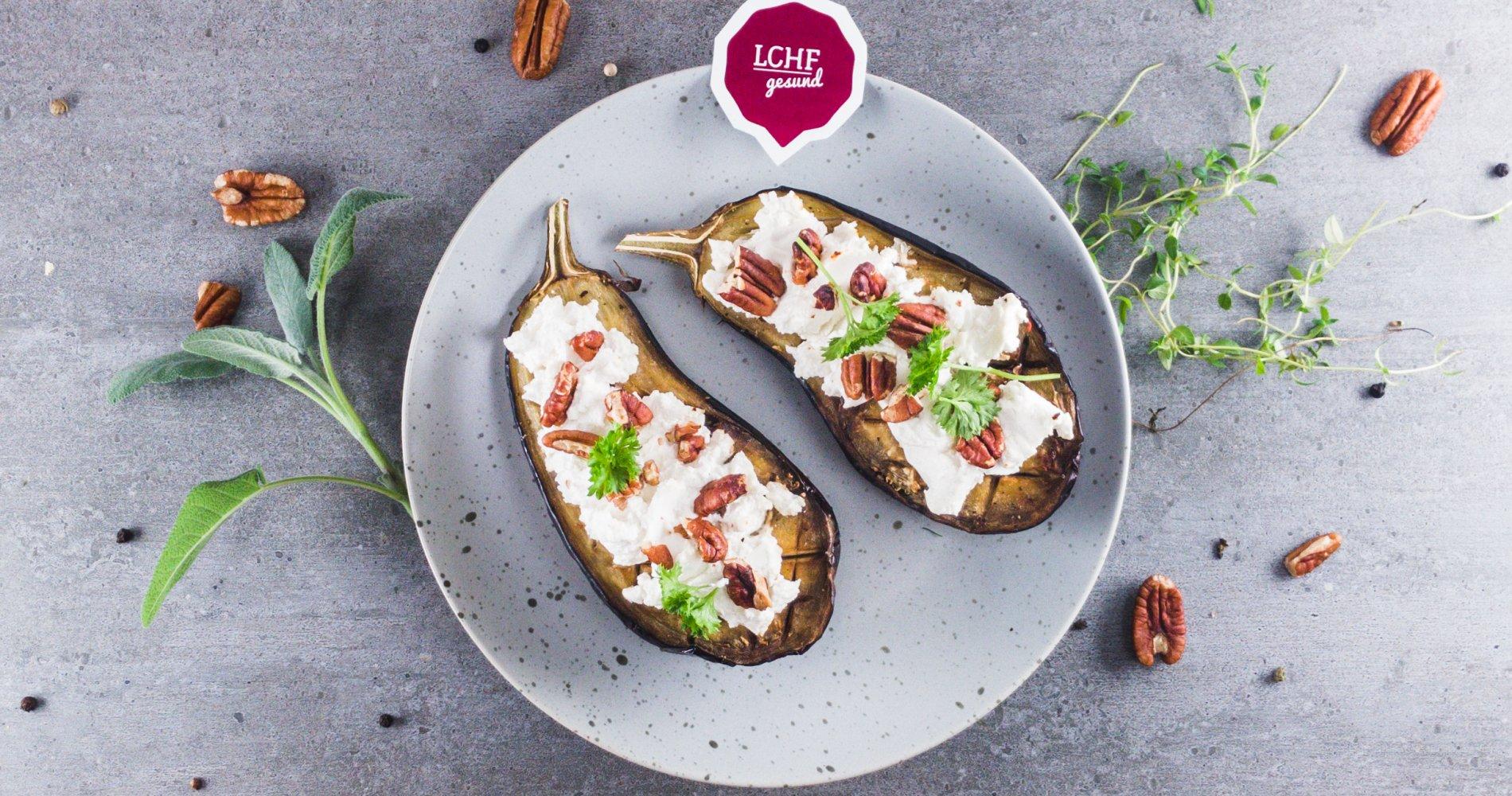 Rezept Low Carb: Gebackene Aubergine mit Ziegenkäse - LCHF-gesund.de