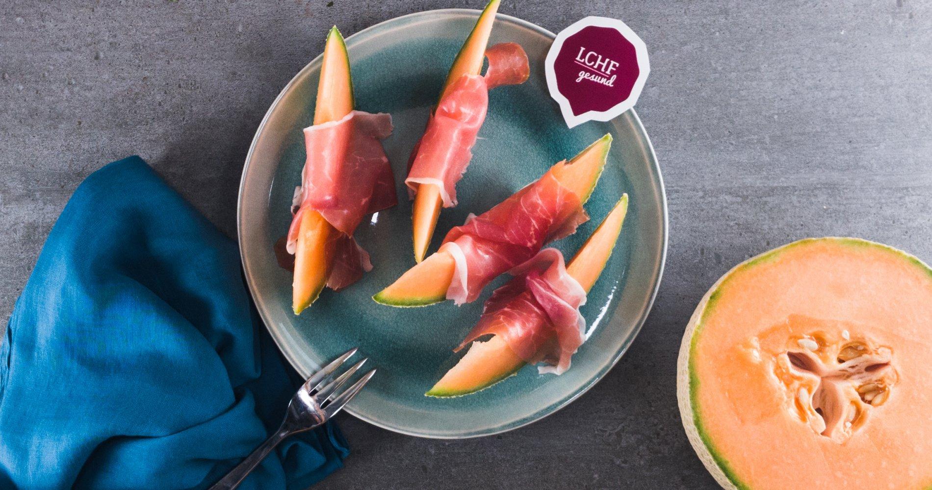 Low Carb: Cantaloupe-Melone mit Parmaschinken - Als Dessert und Vorspeise