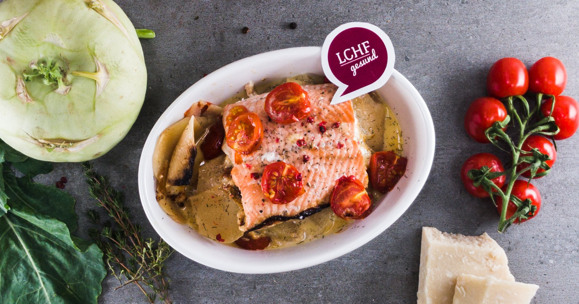 Rezept Low Carb: Kohlrabi-Lachs-Gratin - LCHF-gesund.de
