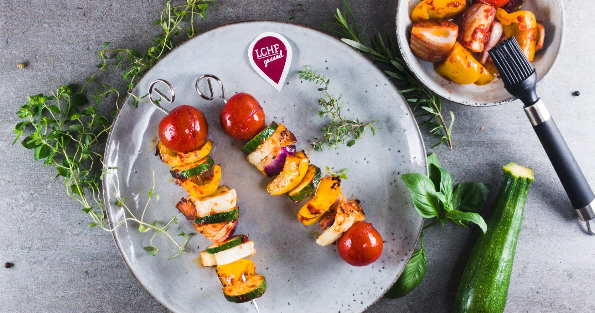 Rezept Low Carb: Bunte Gemüsespieße - LCHF-gesund.de