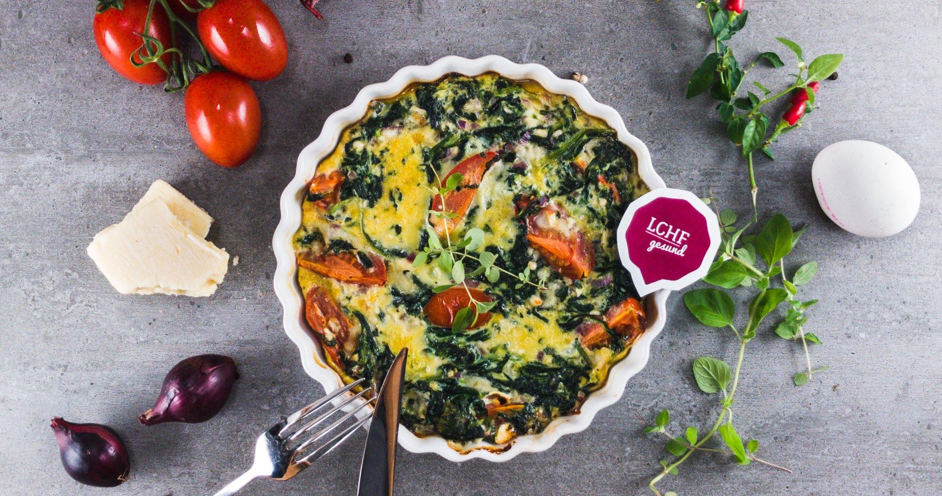 Rezept Low Carb: Spinat-Tomaten-Frittata - LCHF-gesund.de