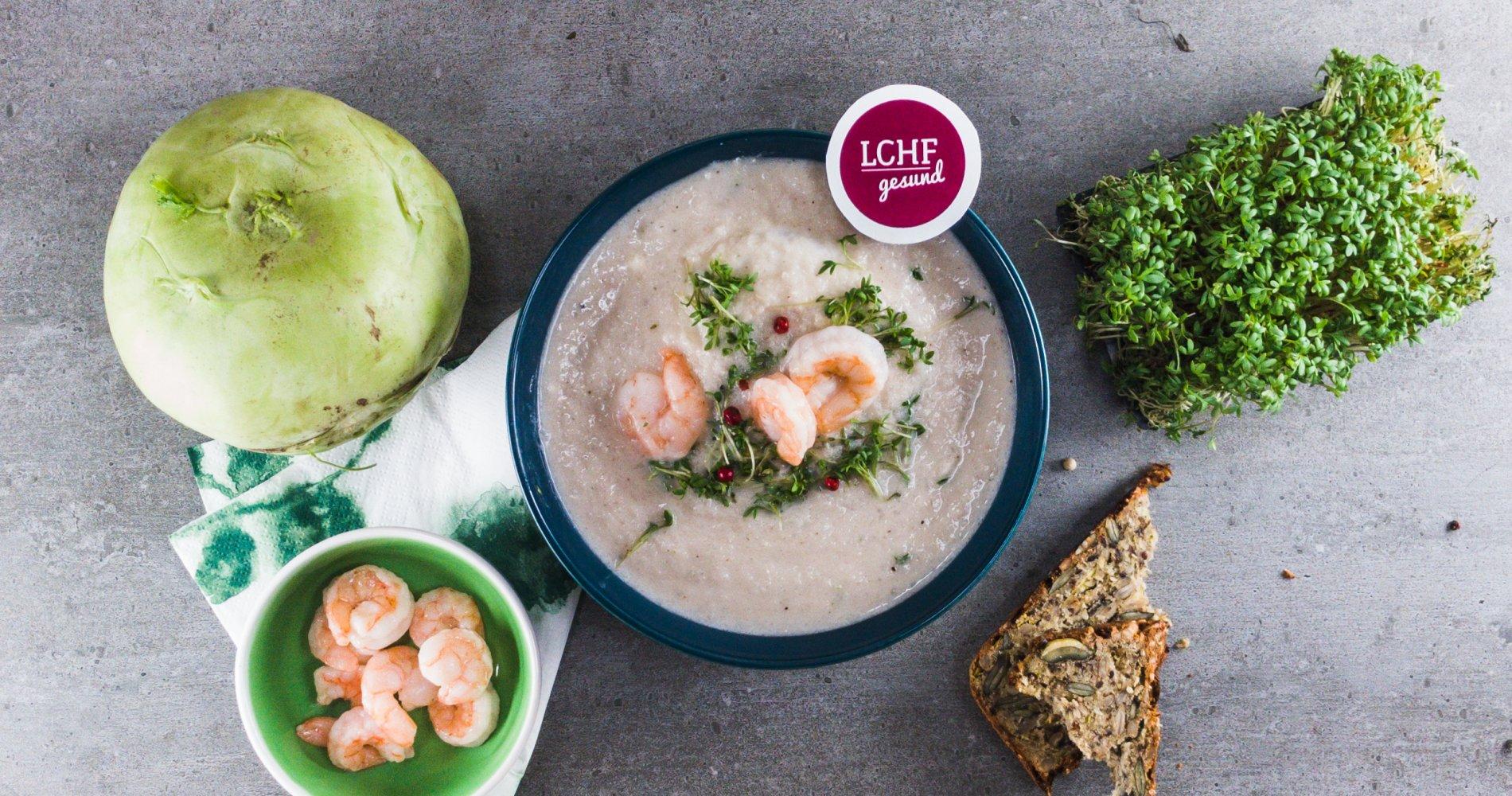 Rezept Low Carb: Kohlrabi-Blumenkohl-Suppe - LCHF-gesund.de